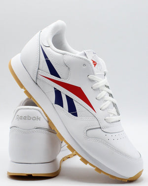 REEBOK-Classic Leather Brand Sneaker (Grade School) - White Red Blue-VIM.COM