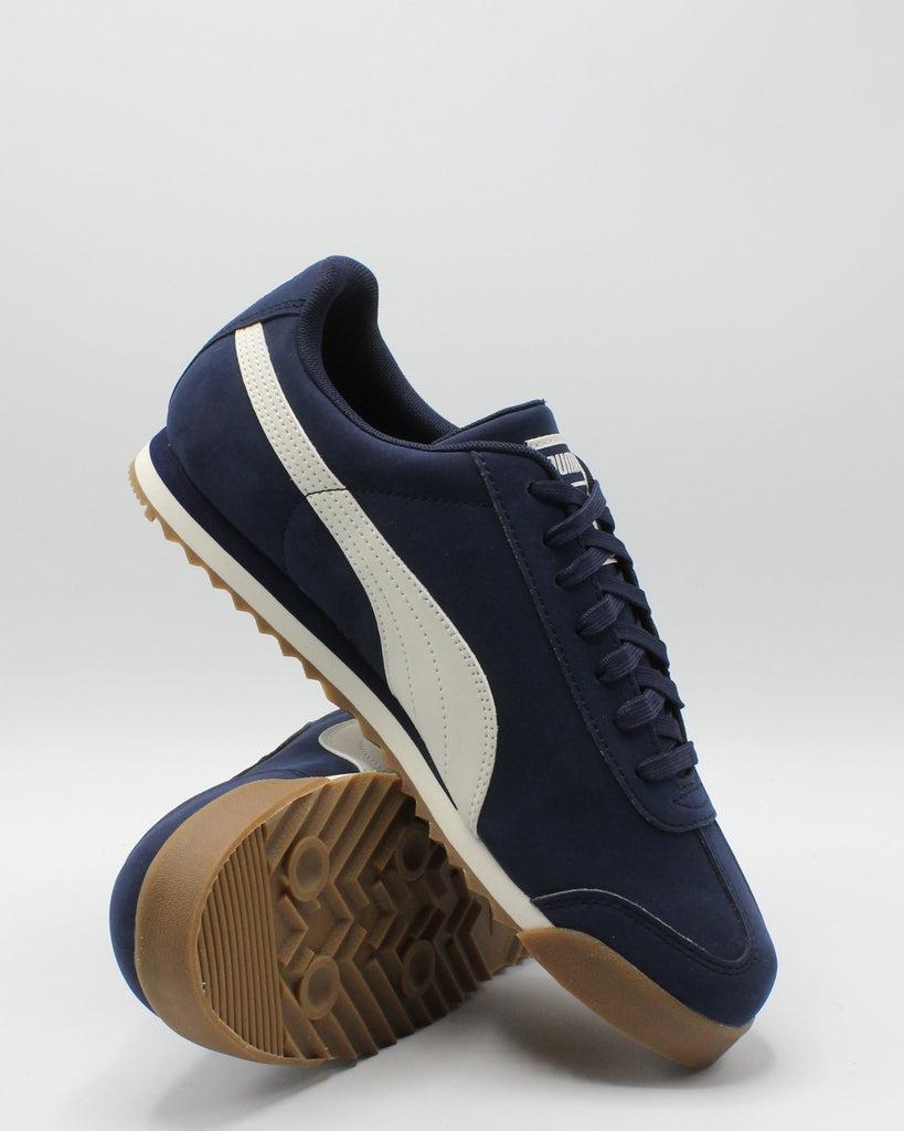 PUMA Men'S Roma Smooth Nubuck Sneaker - Navy - Vim.com