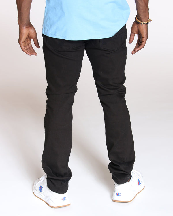 VIM Closed Rips Front Zips Slim Fit Jeans - Black - Vim.com