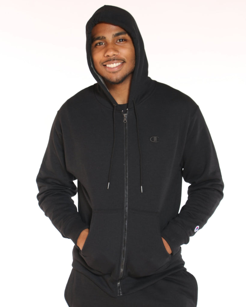 CHAMPION Champion Powerblend Full Zip Hoodie - Black - Vim.com