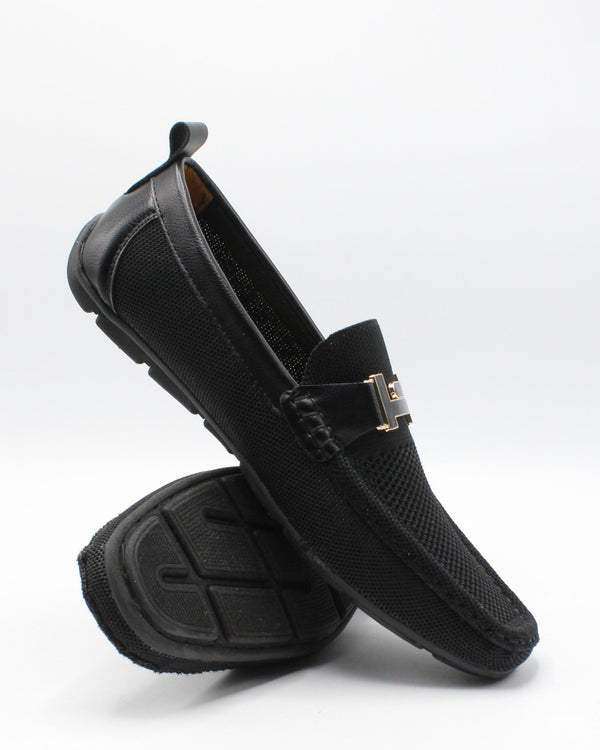 VIM Men'S Driving Knit Buckle Shoe - Black - Vim.com