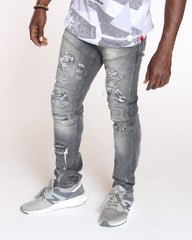VIM Close Ripped Front Zips Slim Fit Jean - Grey - Vim.com