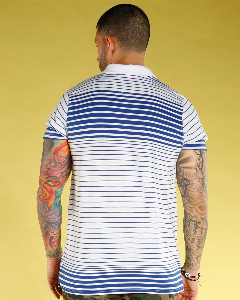 VIM Men'S Thin Stripe Polo Shirt - White - Vim.com