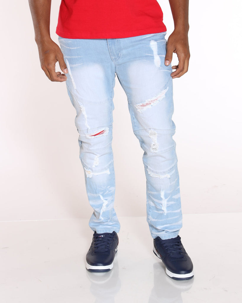 VIM Thomas Knee Ripped Colorful Jean - Light Blue - Vim.com