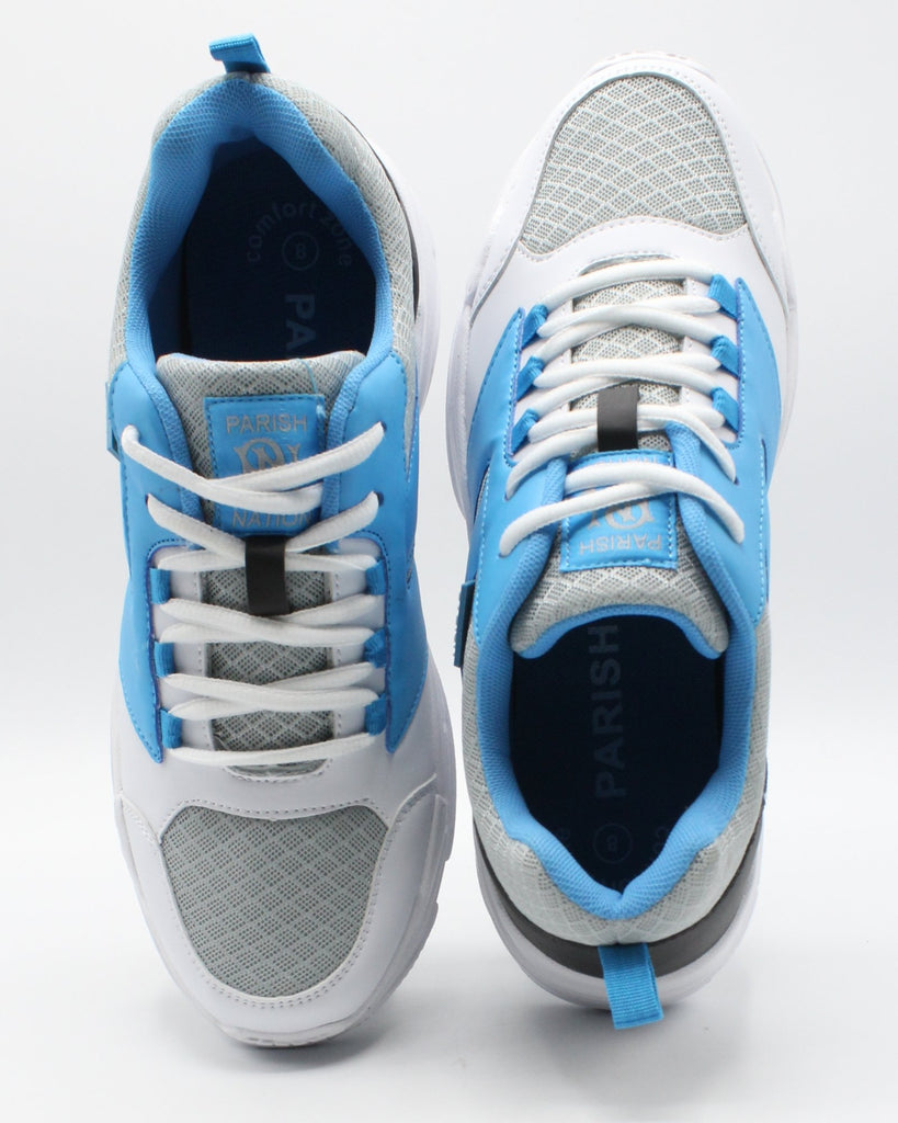 PARISH NATION Men'S Lace Up Multi Mesh Sneaker - White Blue Grey - Vim.com