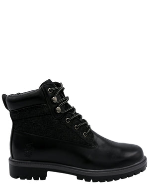 BEVERLY HILLS POLO CLUB Men'S Jamie Denim Pu Boot - Black - Vim.com