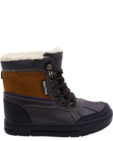 NAUTICA-Boys' Lockview Fur Boots (Grade School) - Brown-VIM.COM