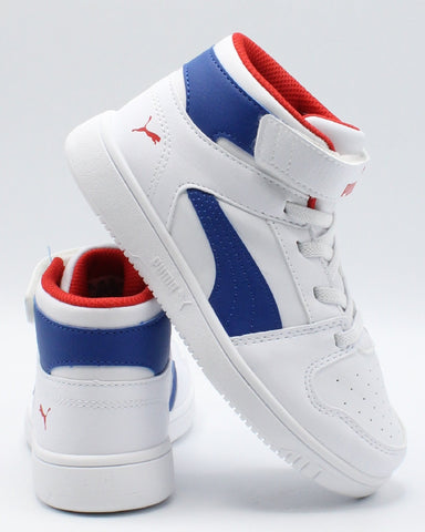 PUMA Rebound Layup Sl Ps Sneaker (Pre School) - White Blue Red - Vim.com