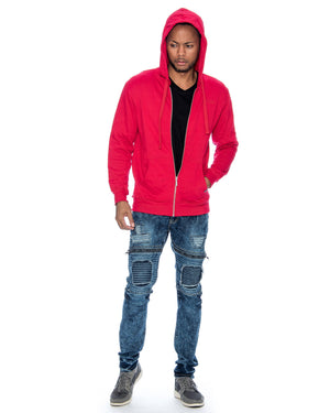 VIM Basic Hoodie Fleece Fabric Sweatshirt - Red - Vim.com