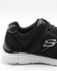 SKECHERS Men'S Satisfaction Sneaker - Black - Vim.com