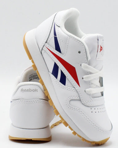 REEBOK Classic Leather Brand Sneaker (Toddler) - White Red Blue - Vim.com