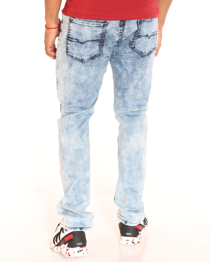 VIM Timmy Basic Embroidered Stretch Slim Straight Jean - Light Blue - Vim.com