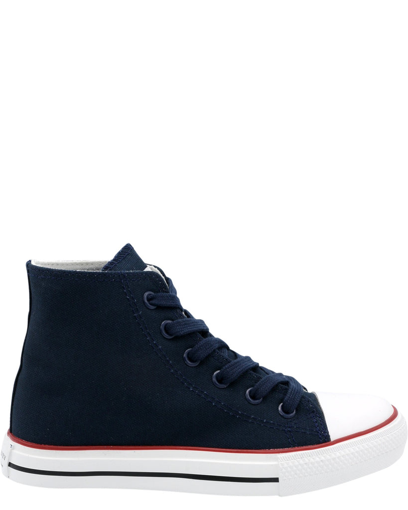 Steve Harvey Boy'S Mid Cut Canvas Sneaker (Grade School) - Navy - Vim.com