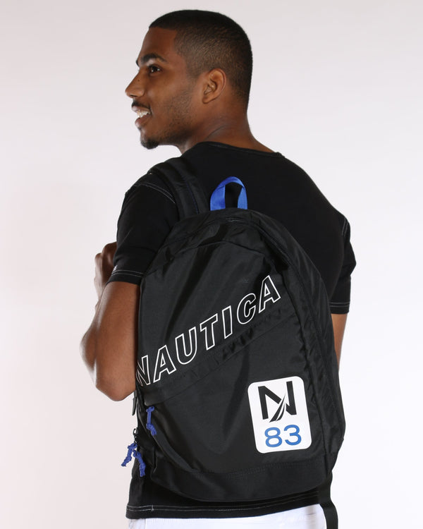 NAUTICA-Nautica Diag Zip Backpack - Black-VIM.COM