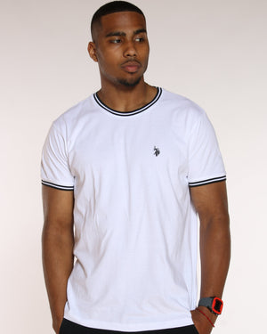 U.S. POLO ASSN.-Men's U.S. Polo Assn. Crew Ribbed Taping Tee - White-VIM.COM