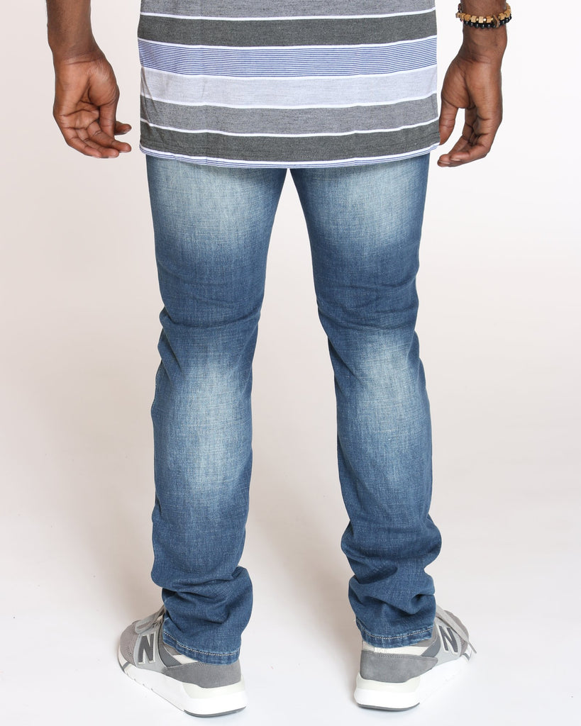 VIM Embroidered Pocket Sand Blasting Jeans - Medium Blue - Vim.com