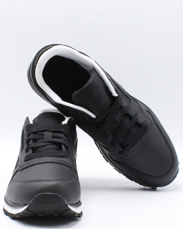 REEBOK Classic Leather Mu Sneaker (Grade School) - Black White - Vim.com
