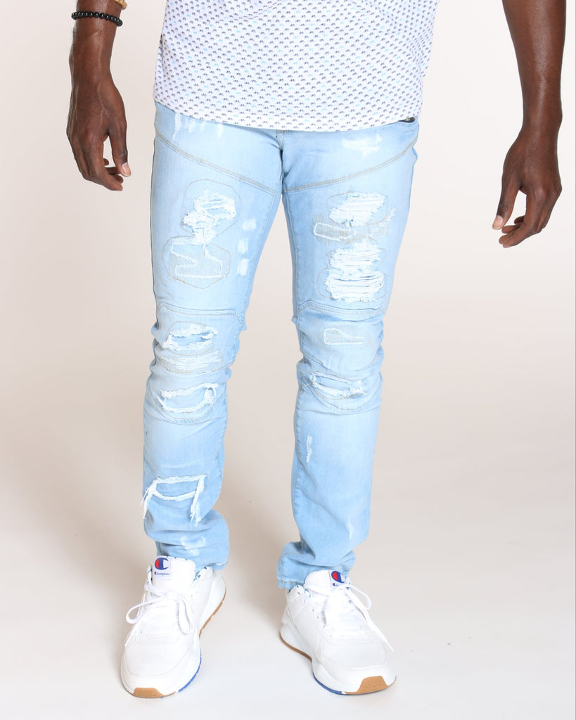 VIM Close Ripped Front Zips Slim Fit Jean - Light Blue - Vim.com