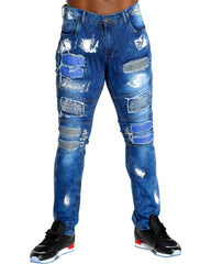 VIM Men'S Moto Patches Jeans - Blue - Vim.com