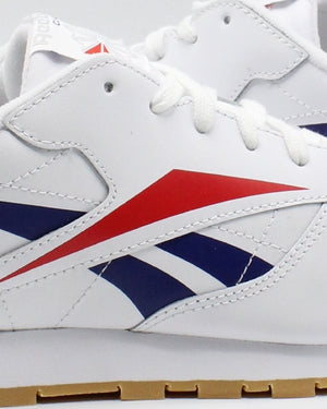 REEBOK Classic Leather Brand Sneaker (Grade School) - White Red Blue - Vim.com