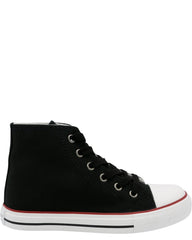 Steve Harvey Boy'S Mid Cut Canvas Sneaker (Grade School) - Black - Vim.com