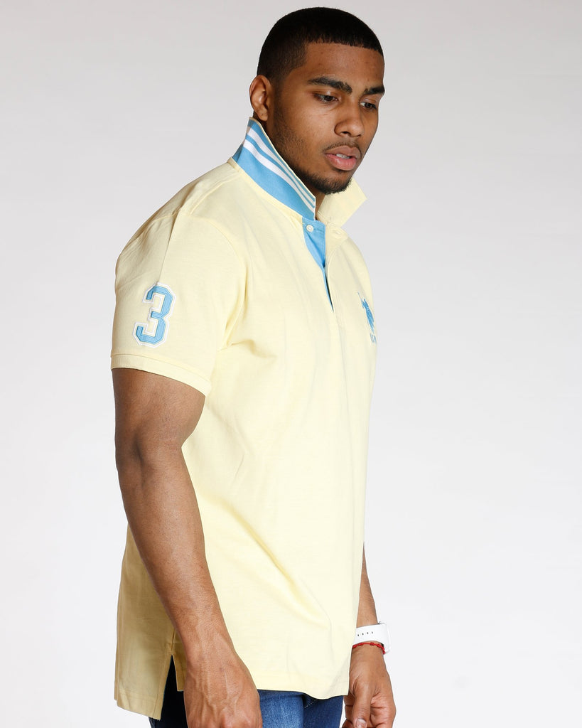 U.S. POLO ASSN. Us Polo Slim Fit Stripe Collar Shirt - Yellow - Vim.com