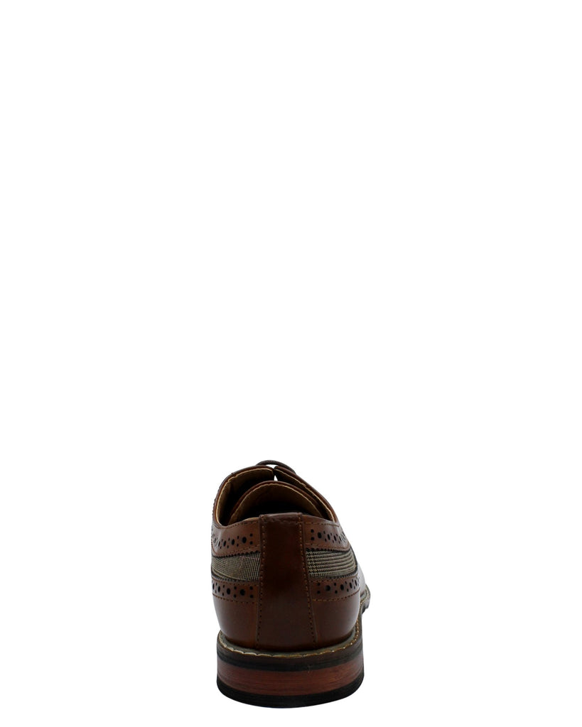 VIM Men'S Lace Up Wing Tip Plaid Shoe - Brown - Vim.com