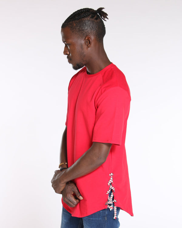 VIM Side Lace Up Scallop Bottom Tee - Red - Vim.com