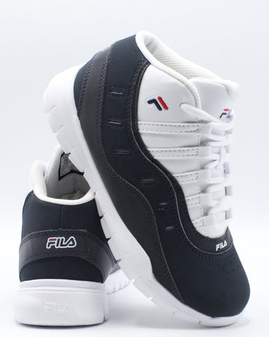FILA-All City Mid Sneaker (Grade School) - White Navy Red-VIM.COM