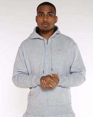 CHAMPION-Men's Champion Powerblend Full Zip Hoodie - Heather Grey-VIM.COM