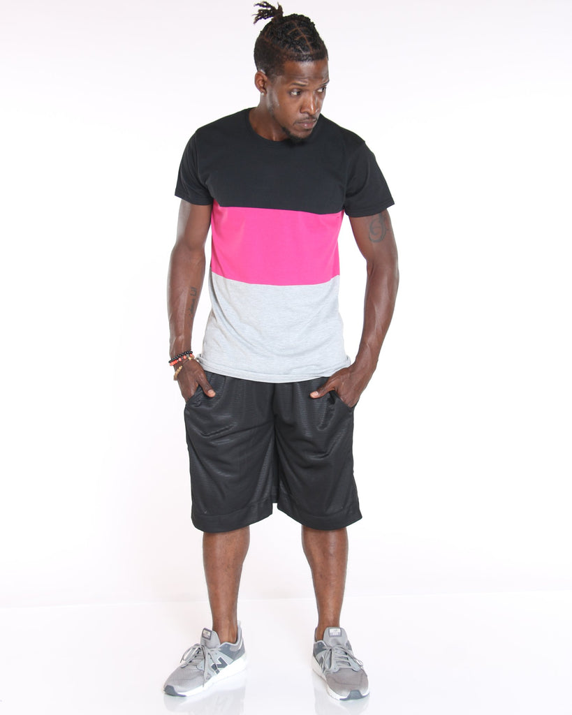 VIM 3 Color Block Tee - Fuchsia Black White - Vim.com