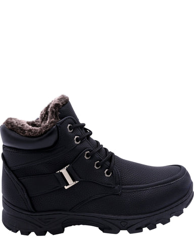VIM Men'S Moc Toe Fur Boots With Zipper And Lace - Black - Vim.com