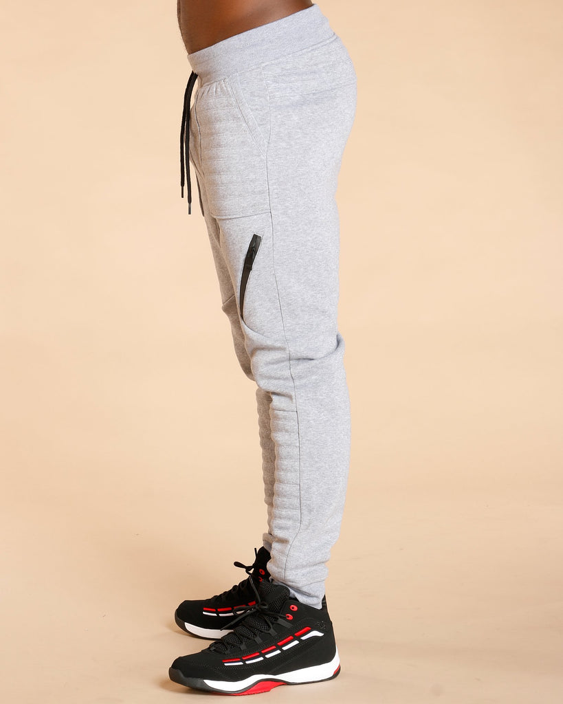 Switch Remarkable Men'S Quilted Moto Fleece Jogger - Heather Grey - Vim.com