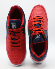PARISH NATION Men'S Lace Up Honeycomb Emboss Sneaker - Red - Vim.com