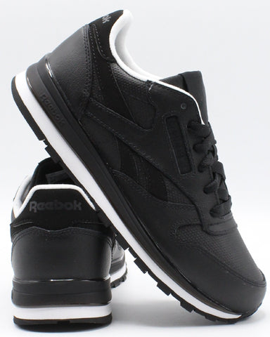 REEBOK-Classic Leather Mu Sneaker (Grade School) - Black White-VIM.COM