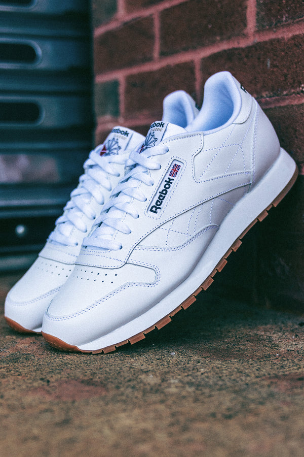 Men's Classic Leather Gum Sneakers - White
