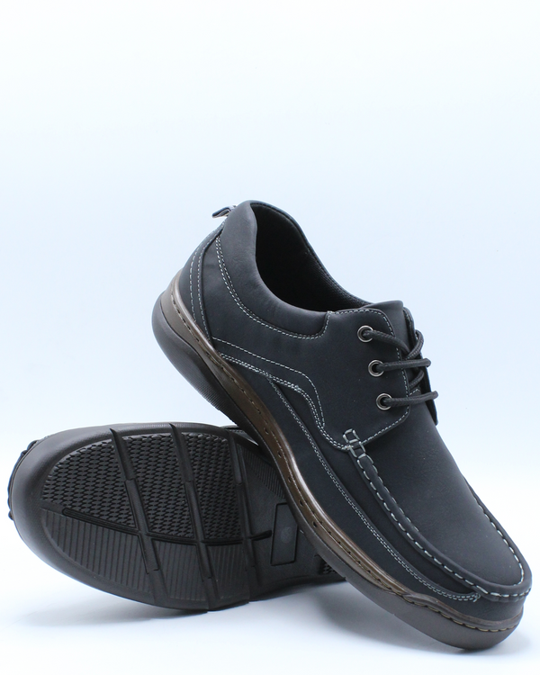 Men's Lace Up Moc Toe Comfort Shoe - Black