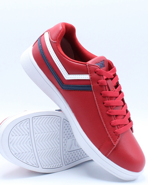 Men's Racer Tri Color Leather Sneaker - Red White