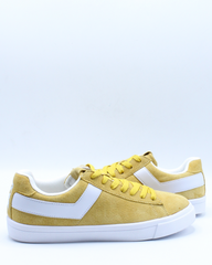 Mens Classic Low Suede Sneaker - Yellow White