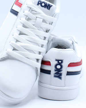 Men's Racer Tri Color Leather Sneaker - White Navy Red
