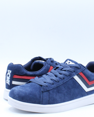 Mens Racer Tri Color Suede Sneaker - Blue Red White