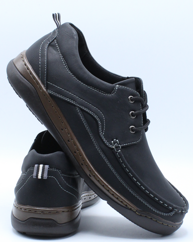 Men's Lace Up Moc Toe Comfort Shoe - Black-VIM.COM