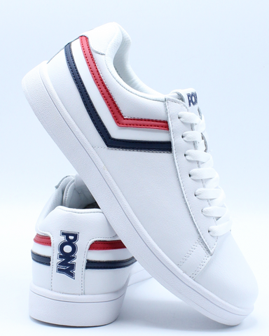 PONY-Men's Racer Tri Color Leather Sneaker - White Navy Red-VIM.COM