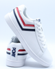 Mens Racer Tri Color Leather Sneaker - White Navy Red