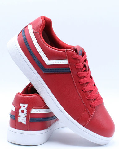PONY-Men's Racer Tri Color Leather Sneaker - Red White-VIM.COM