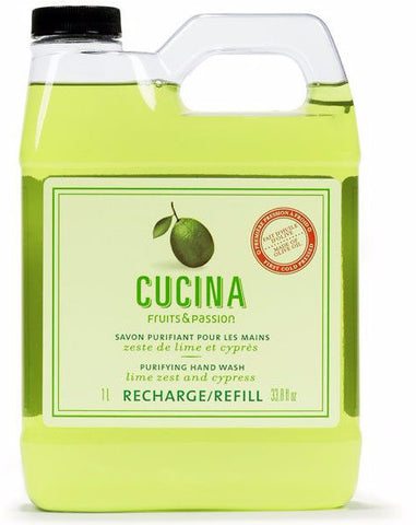 CUCINA Purifying Hand Wash Refills - 33.8 fl. oz. -  Lime Zest and Cypress