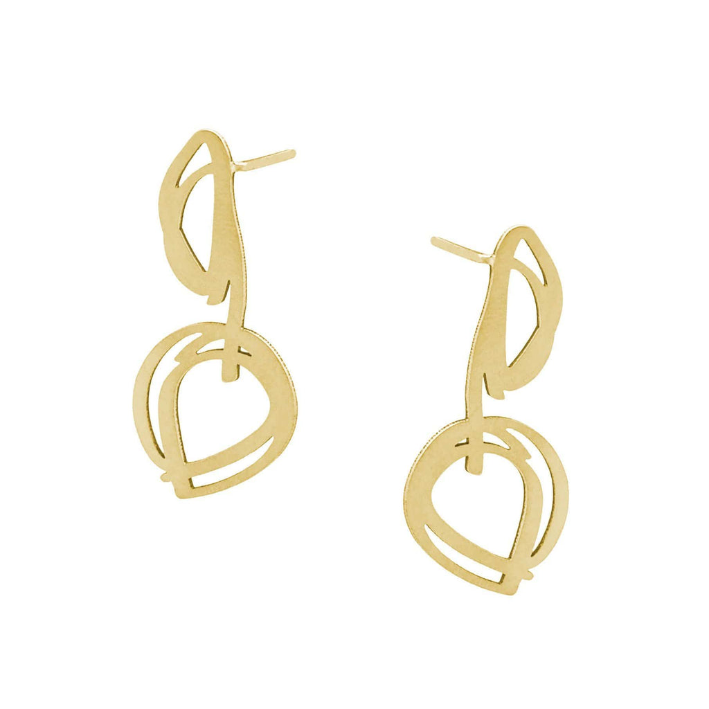 Bud Stud Earrings - 22ct Matt Gold Plate EARRINGS