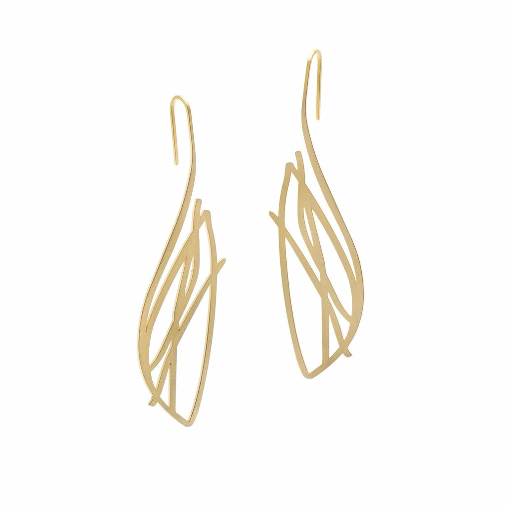 Flight Earrings - 22ct Matt Gold Plate - inSync design
