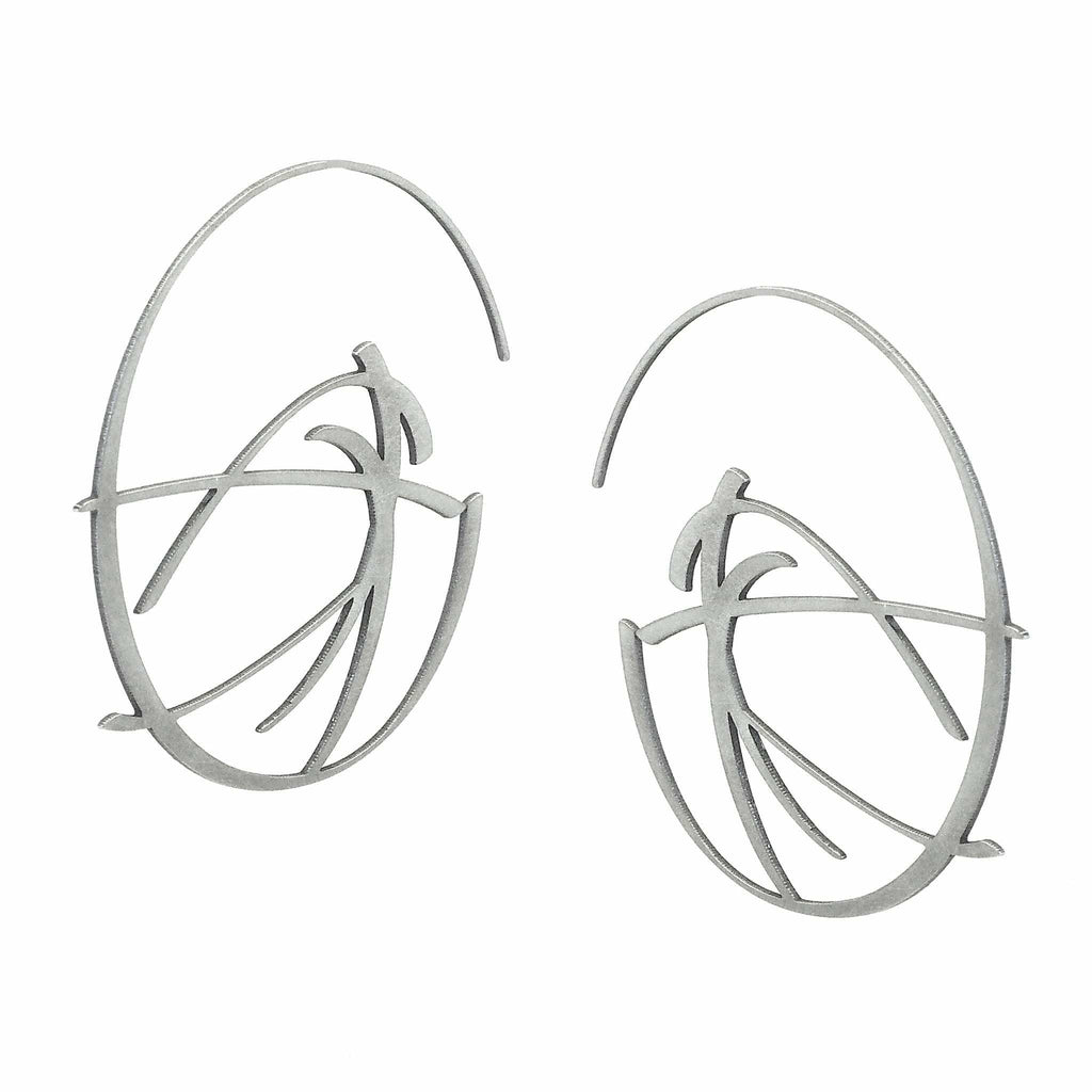 Flux Earrings - Raw Stainless Steel - inSync design