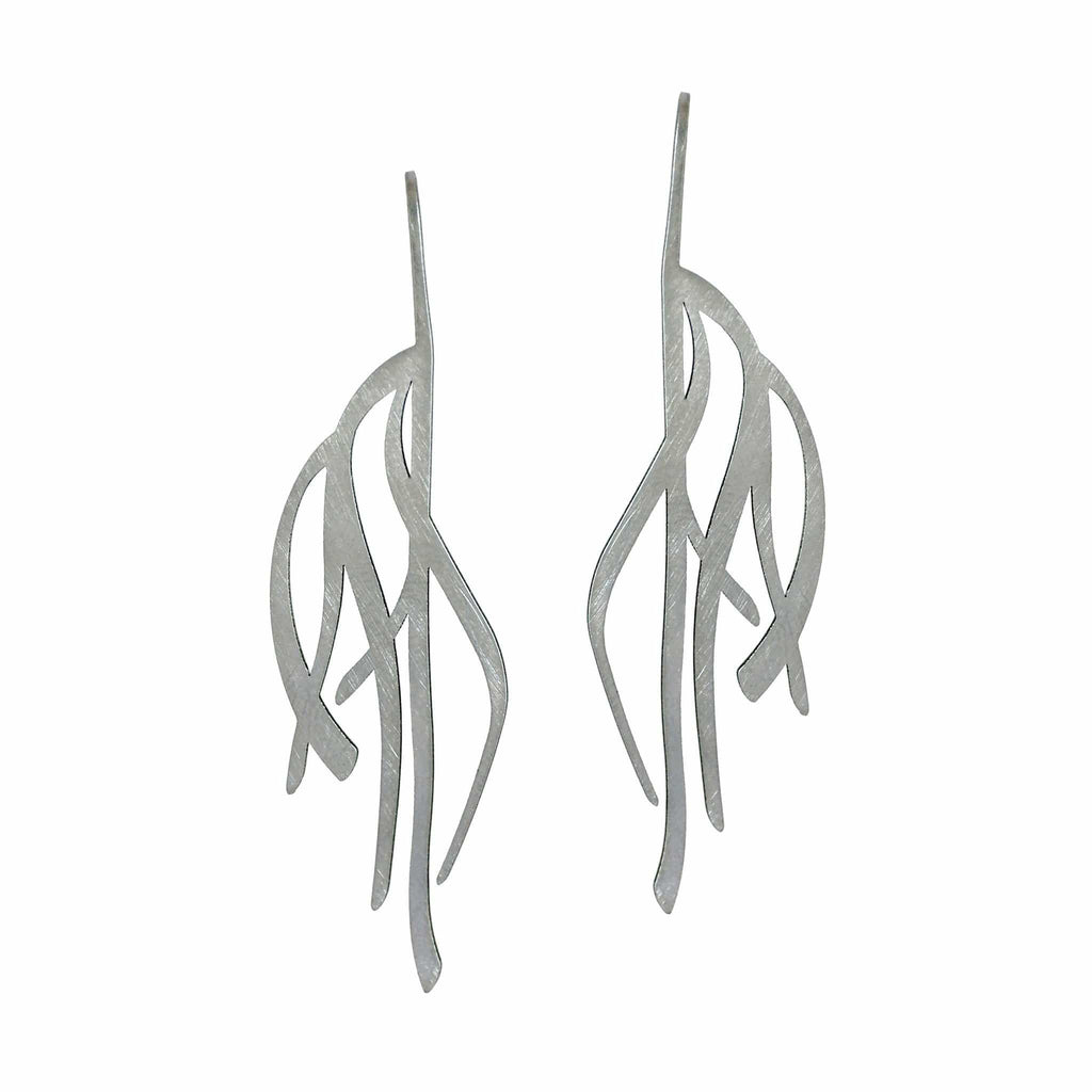 Kelp Earrings - Raw Stainless Steel - inSync design
